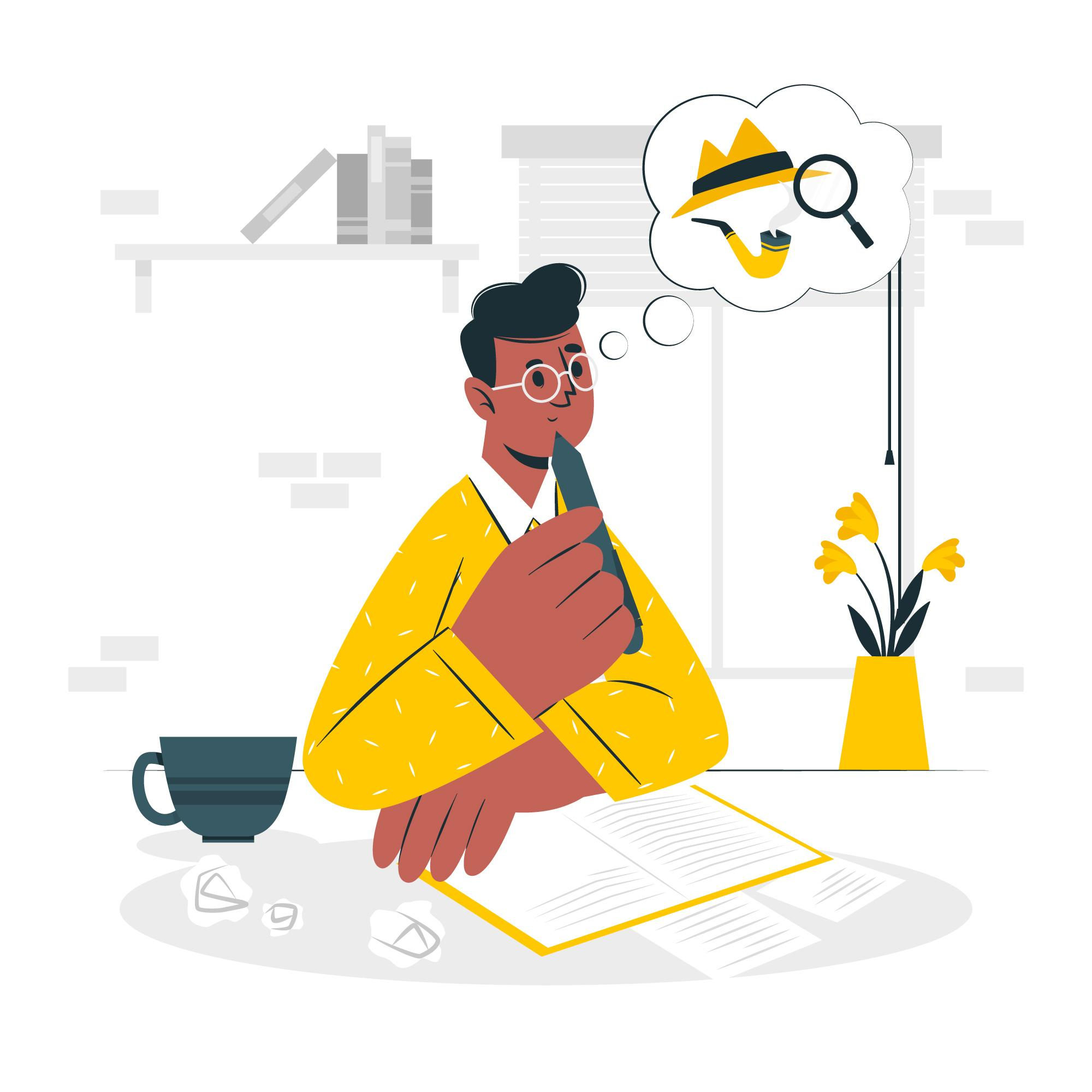 Graphic showing content writer thinking