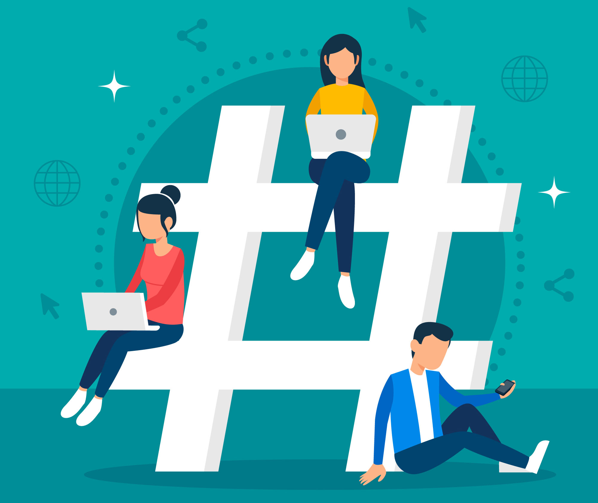 Graphic of people working atop a giant hashtag